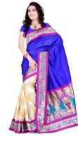 Weavedeal Embellished, Self Design Banarasi Banarasi Silk, Brocade Saree(Blue)
