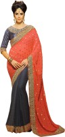 Khushali Self Design, Embellished, Embroidered Fashion Georgette, Jacquard, Viscose Saree(Blue, Orange, Grey)