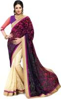 Indianbeauty Self Design Bollywood Brasso Saree(Beige, Multicolor)