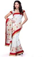 Meghdoot Self Design Fashion Poly Silk Saree(White)