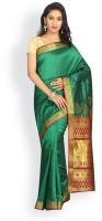 Pavechas Solid Kanjivaram Art Silk Saree(Green)