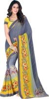 Vastrani Embroidered Fashion Georgette Saree(Yellow, Grey)