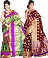 Its Banii Woven Banarasi Handloom Banarasi Silk Saree(Pack of 2, Purple, Maroon)