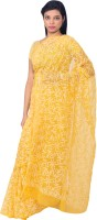 Knool Self Design Lucknow Chikankari Handloom Georgette Saree(Yellow)