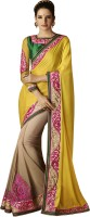 Ewows Embroidered, Self Design Fashion Crepe, Jacquard Saree(Yellow, Beige)