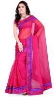 Indi Wardrobe Printed Banarasi Handloom Banarasi Silk Saree(Pink)
