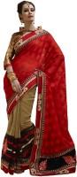 Bahubali Sarees Self Design Fashion Jacquard Saree(Red, Brown, Black)