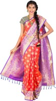 Thara Sarees Self Design Kanjivaram Art Silk Saree(Purple, Red)