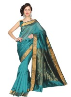 Vastrakala Solid, Striped Fashion Cotton, Silk Saree(Green)