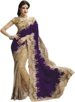 Triveni Self Design Fashion Net, Velvet Saree(Purple)