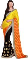 Khoobee Self Design, Embroidered, Embellished Fashion Poly Georgette Saree(Black, Orange, Yellow)