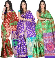 Its Banii Woven Banarasi Handloom Banarasi Silk Saree(Pack of 3, Red, Blue, Green)
