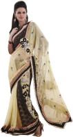 Bahubali Sarees Self Design Fashion Synthetic Saree(Beige)