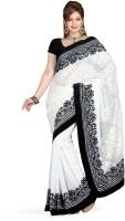 De Marca Printed Fashion Chiffon Saree(White, Black)