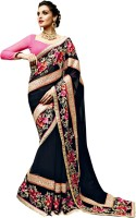 Triveni Striped Fashion Georgette Saree(Black, Red)