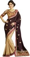 Kvsfab Embroidered Fashion Jacquard Saree(Brown, Beige)