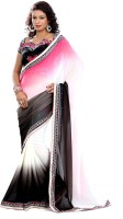 Florence Embroidered Fashion Georgette Saree(White, Black)