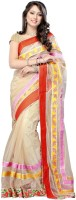 Nairiti Fashions Solid Bollywood Net Saree(Beige)
