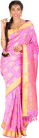 Thara Sarees Self Design Kanjivaram Art Silk Saree(Pink)