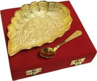 Shreeng Leaf Pattern Gold Plated Brass Platter Festival Gift Bowl Spoon Serving Set(Pack of 2)