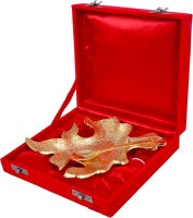 Shreeng Gold Plated Brass Tree Leaf Shaped Dining Tray Bowl Spoon Plate Ladle Serving Set(Pack of 2)