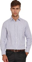 I-Voc Mens Checkered Formal White, Blue Shirt