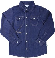 ShopperTree Boys Solid Casual Denim Blue Shirt