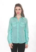 Ten on Ten Womens Solid Casual Green Shirt