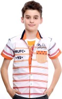 Mash Up Boys Striped Casual Orange Shirt(Pack of 2)