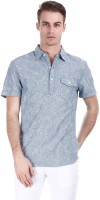 Zobello Mens Printed Casual Blue Shirt