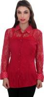 Ten on Ten Womens Self Design Casual Red Shirt