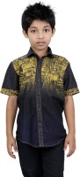 Zeal Boys Printed Casual Dark Blue, Yellow Shirt