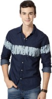 People Mens Printed Casual Dark Blue Shirt