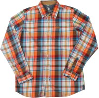 US Polo Kids Boys Checkered Casual Orange, Multicolor Shirt