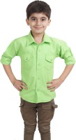 Ice Blue Boys Solid Casual Green Shirt
