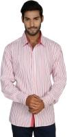 Macoro Mens Striped Casual Pink, Pink Shirt