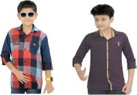 Kidzee Boys Self Design Casual Red, Purple Shirt(Pack of 2)