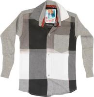 Kidzee Boys Self Design Casual Black Shirt