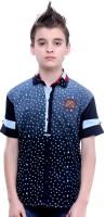 MashUp Boys Printed Casual Blue Shirt