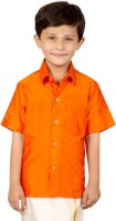 Thangamagan Boys Solid Casual Orange Shirt