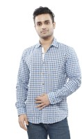 Turtle Mens Checkered Casual Blue Shirt