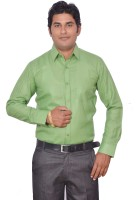 Leaf Mens Solid Formal Light Green Shirt