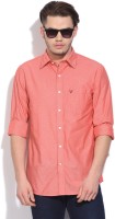 Allen Solly Mens Self Design Casual Red Shirt