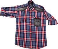Little Man Boys Checkered Casual Red Shirt