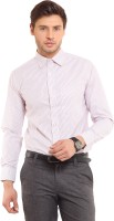 I-Voc Mens Striped Formal White, Red Shirt