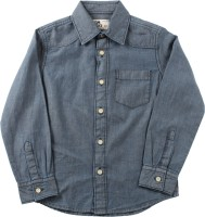 Flying Machine Boys Solid Casual Blue Shirt