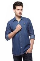 Fasnoya Mens Solid Casual Denim Blue Shirt