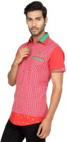 Macoro Mens Checkered Casual Red Shirt