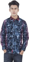 EdenElliot Mens Printed Casual Blue, Red Shirt