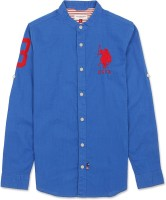 U.S. Polo Assn Boys Solid Casual Blue Shirt